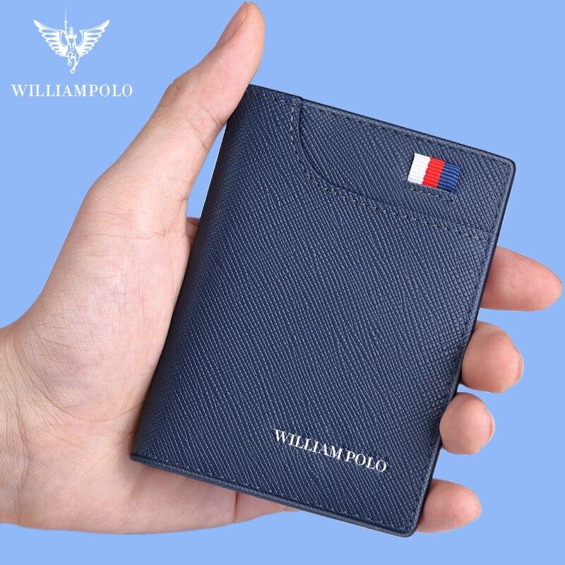 WILLIAMPOLO Men Small Wallet Men Mini Purse Genuine Leather Slim Card Holder Cowskin Thin Luxury Wallet Men Short Vintage Wallet