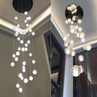 Modern Crystal Chandelier Big Lamp LED Hanging Lighting Large Glass Globe Glass Chandeliers Luxury Stair Crystal Chandelier Lamp