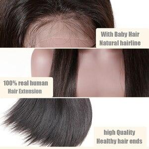 """Image 4 - Peluca con malla Frontal recta para mujer peluca de cabello humano Remy virgen Ali Queen de 8 """"a 26"""", color negro Natural, peluca Frontal de encaje 360, 13x4/13x6"""