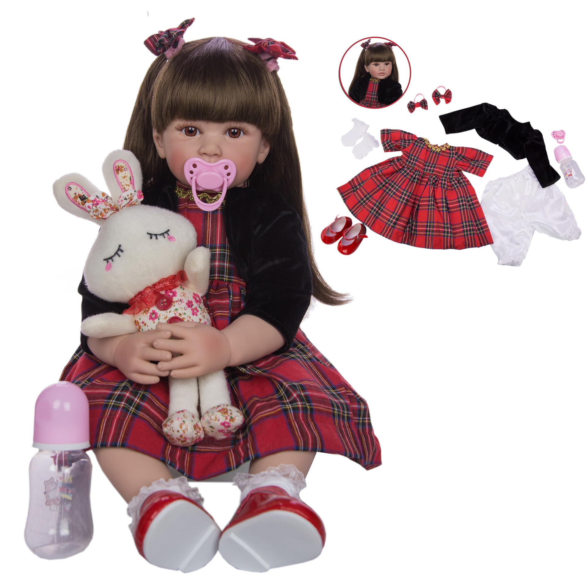 24 Inch <font><b>Reborn</b></font> <font><b>Dolls</b></font> <font><b>60</b></font> <font><b>cm</b></font> Silicone Soft Realistic Princess Girl Baby <font><b>Doll</b></font> Adorable Lifelike Ethnic <font><b>Doll</b></font> Kid Birthday Xmas Gifts image