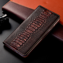 Ostrich Genuine Leather Case For iPhone 12 Mini 12 11 Pro Max X XR XS Max 5 5s SE 6 6s 7 8 Plus Magnetic Flip Cover