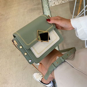 Image 4 - Chain Pu Leather Crossbody Bags For Women 2021 Small Shoulder Simple Bag Special Lock Design Female Travel Handbags