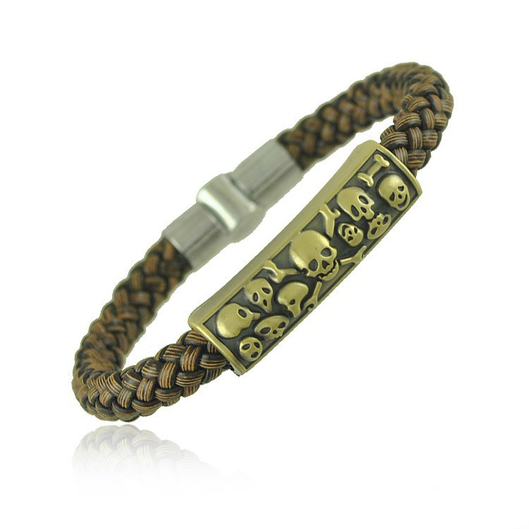 Bracelet Fashion Pu Woven Rope Personality Skull Men s Jewelry Simple and Elegant Accessories Delicate Charm
