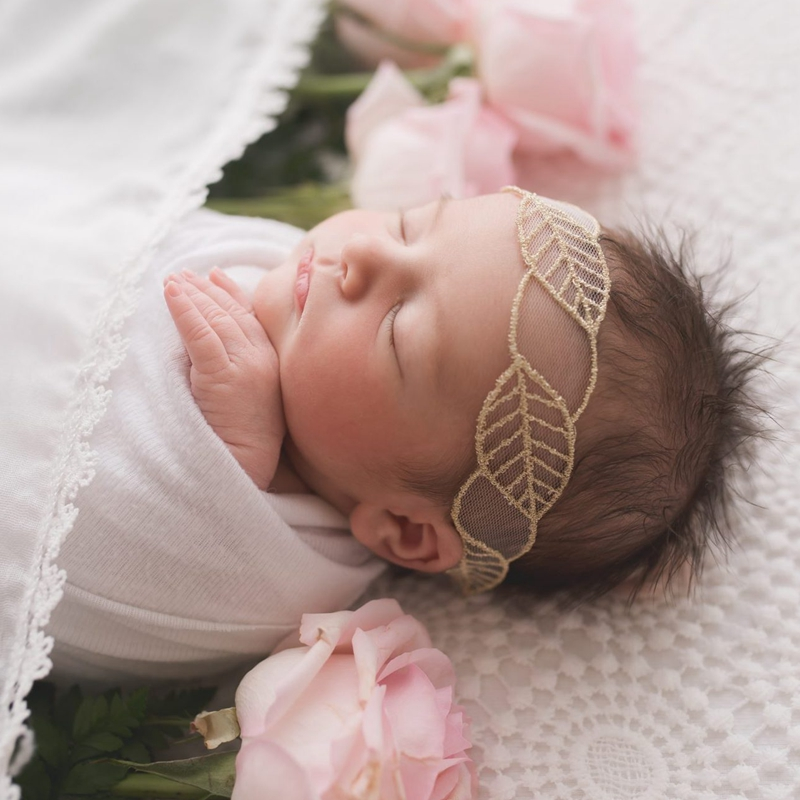 Lace Baby Girls Headband Newborn Photography Props Toddler Floral Gold Embroidery Hairband Infant Nylon Elastic Hair Accessories