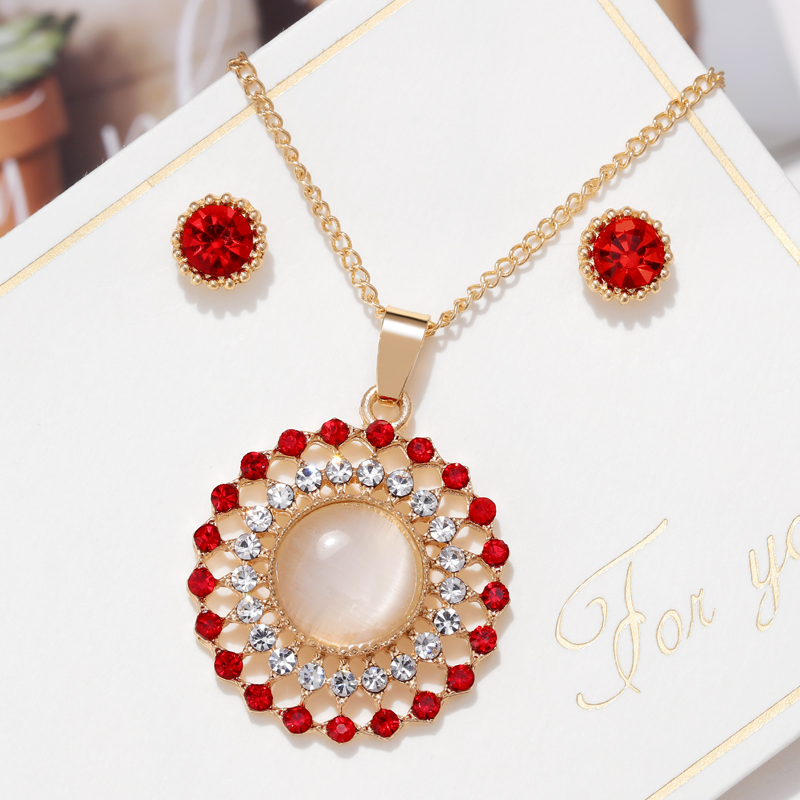 Exquisite Gold Color Bridal Jewelry Sets Bling Austrian Crystal Opal Stone Pendant Necklaces Earrings Wedding Accessory Gifts 4