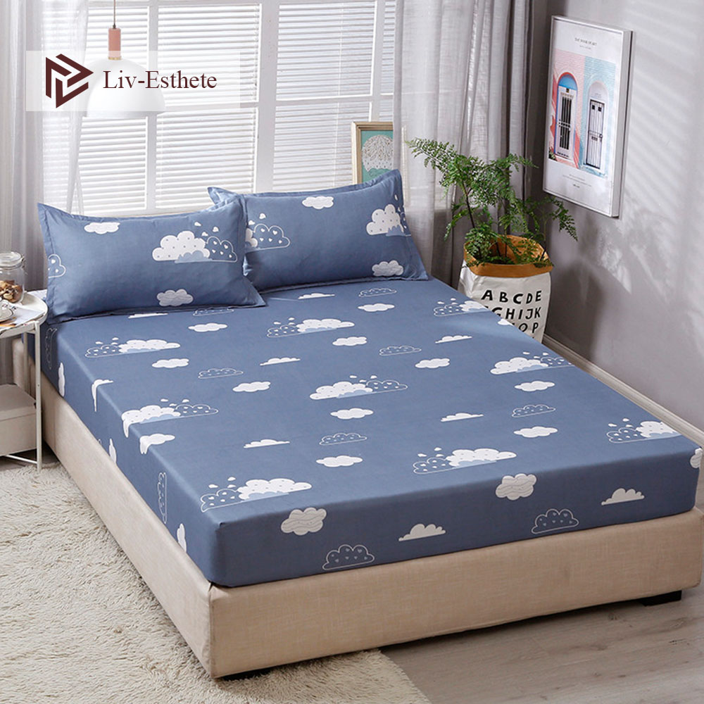 Liv-Esthete Fashion Cloud Polyester Fitted Sheet Blue Pillowcase Soft Mattress Cover Bed Linen On Elastic Band