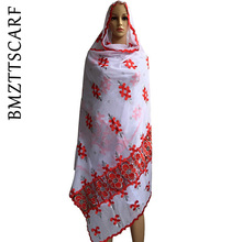 BM247! Африканские женские шарфы, Африканский мусульманский женский шарф с вышивкой, чистый белый большой шарф для шалей