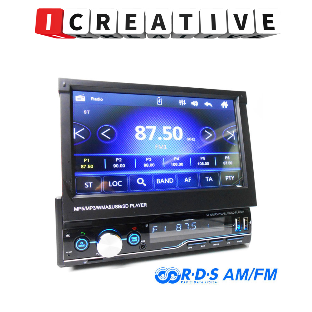 T100 1 Din Retractable Car Radio RDS Mirror Link MP5 Video Player AM FM USB TF Aux 7 Inch Touch Screen Stereo System Head Unit