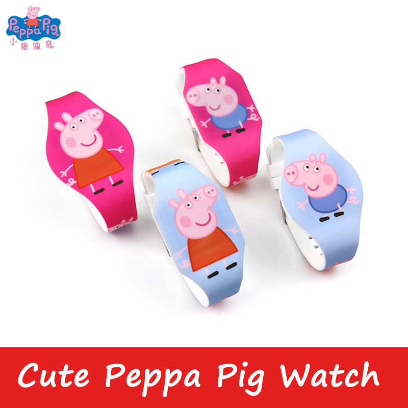 Hot Style Peppa Pig Cartoon Figure Watch Toy Child Electronic LED Luminous Watch PVC Material Strap Student Birthday Gift