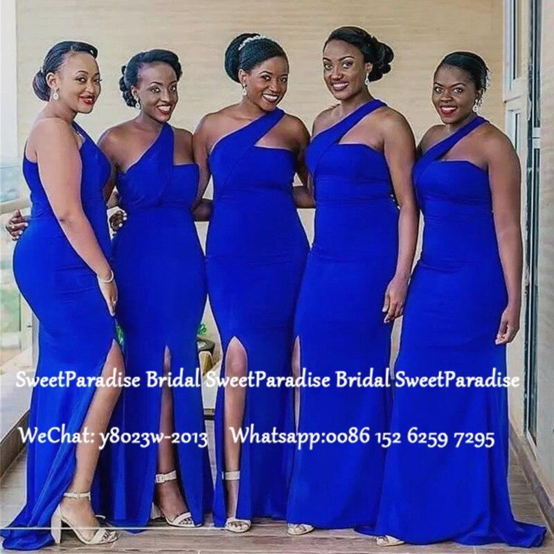 2020 One Shoulder Mermaid Long Bridesmaid Dresses For Women Royal Blue Side Split Wedding Party Dress Robe Demoiselle D'honneur