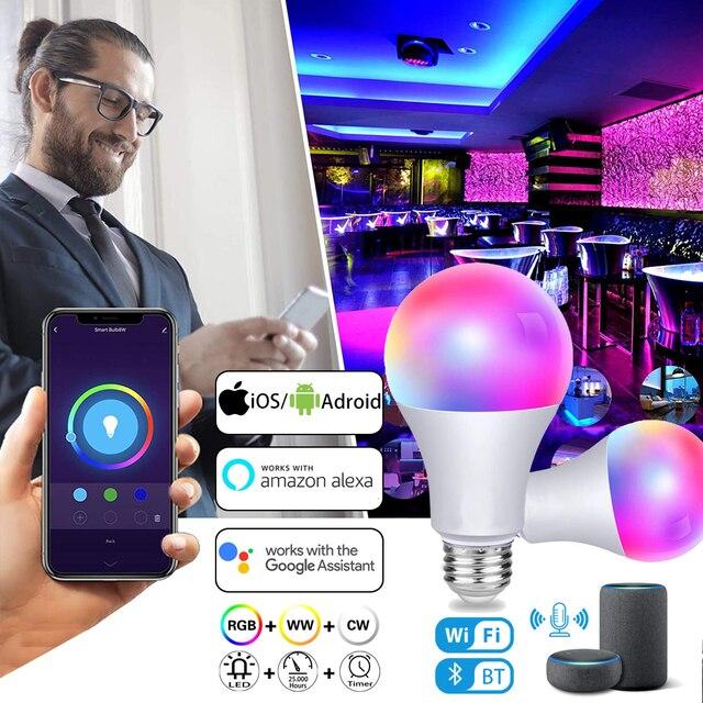 5W-20W Smart Light Bulb Work with Alexa/Google Home WiFi Bluetooth RGB LED Smart Lamp Dimmable Timer Function Night Light Bulbs
