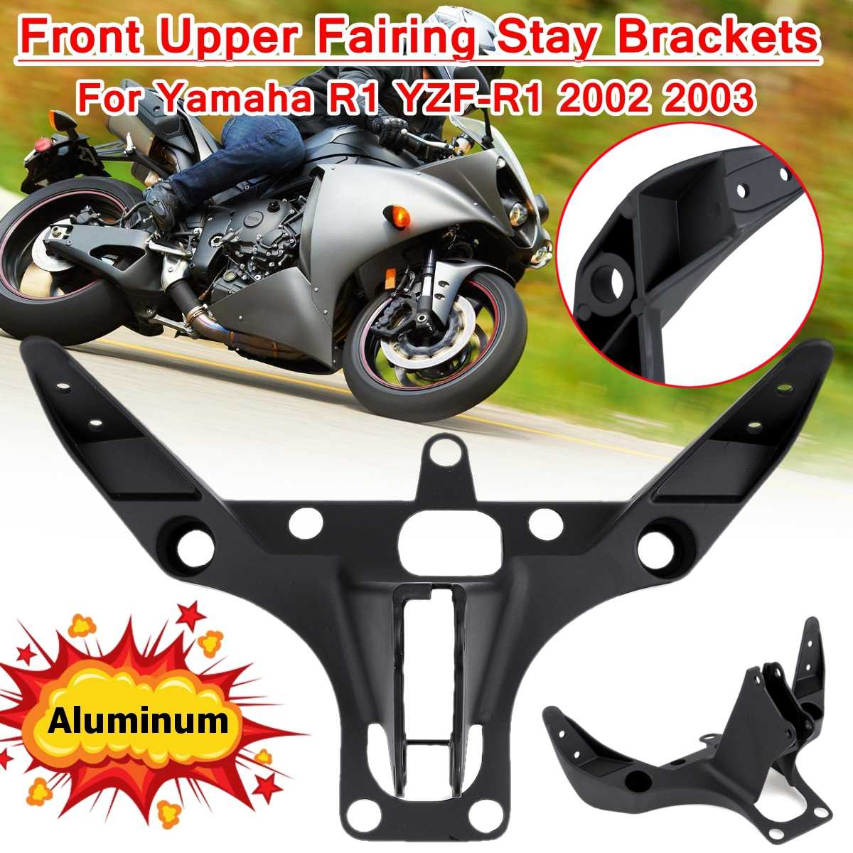Motorcycle Front Headlight <font><b>Fairing</b></font> Cowling Stay Bracket Front Headlamp Bracket Mounting Aluminum For <font><b>Yamaha</b></font> YZF-<font><b>R1</b></font> 2002 <font><b>2003</b></font> image
