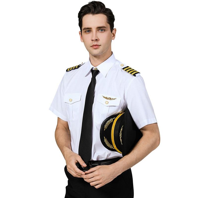 International AirLine Captain Uniform Pilot Shirt Male Engineer Clothing Night Shop Hairstylist Costume Personality White Shirt