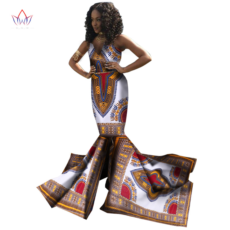 Plus Size Women  Traditional African Dresses Brand Custom Clothing Africa Wax Dashiki Slim Cut Sexy Dress Long None BRW WY1311