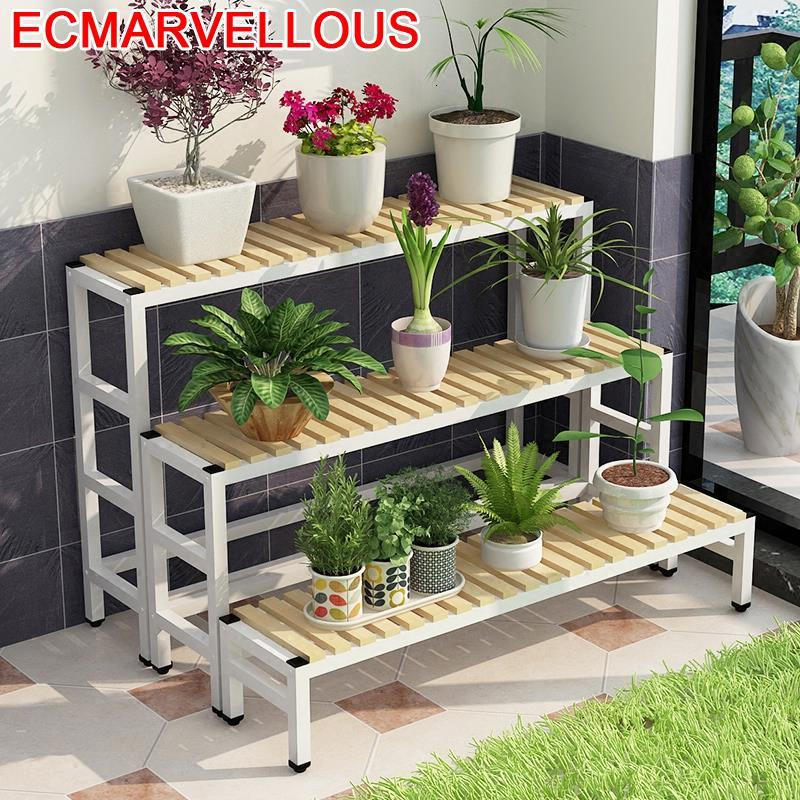 Bunga Suporte Flores Jardin Wood Estanteria Para Soporte Plantas Interior Ladder Balcony Rack Outdoor Flower Shelf Plant Stand