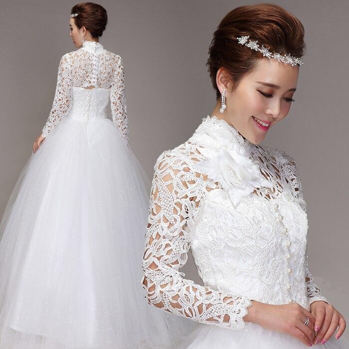 long sleeve 2016 highneck vintage Wedding Dress bride sexy Muslim New Arrival Handmade free Shipping vestido de noiva casamento