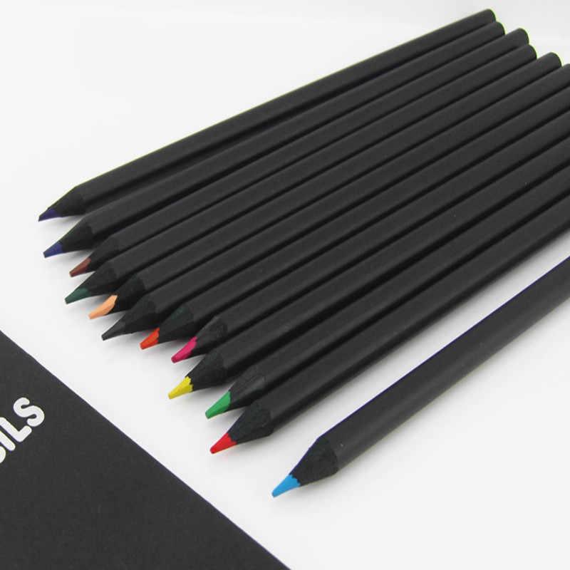 12 ชิ้น/เซ็ตดินสอคุณภาพสูงบรรจุภัณฑ์ 12 สีสีดินสอ Kawaii โรงเรียนสีดำดินสอไม้