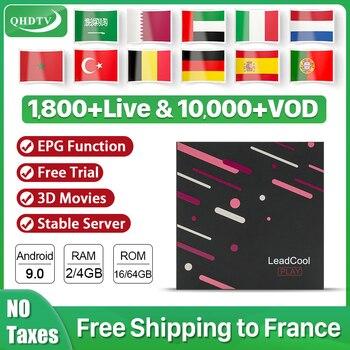 QHDTV IPTV subscription Android 9.0 Leadcool Play smart IPTV box 4K RK3318 IPTV Spain Germany Algeria Belgium IP TV Arabic box