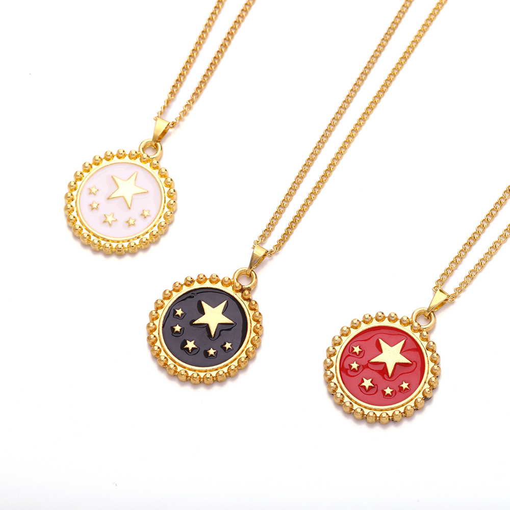H64ccd3e66b764155ad006b11752bb6239 - New Red White Black Enamel Star Pattern Gold Coin Necklace For Women Ladies Heart Pendant Necklaces Jewelry Accessories