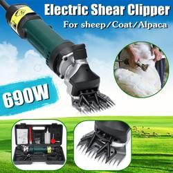 Elektryczne owce kozy nożyce 690W 6 prędkości regulowany strzyżenie Clipper wełny podnośniki nożyce elektryczne z pudełkiem US/AU wtyczka