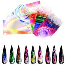 Holographic Fire Flame Nail Stickers 3D Colorful Thin Laser Stripe Flames Art Foil Transfer Sticker Decal Decorations Set