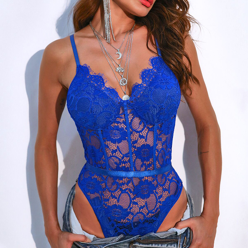 OMSJ New Sexy Neon Color Lace Bodysuit Hollow Out V-neck One Piece Body Feminino Mesh Sheer Teddy Fashion Sleeveless Romper 2020