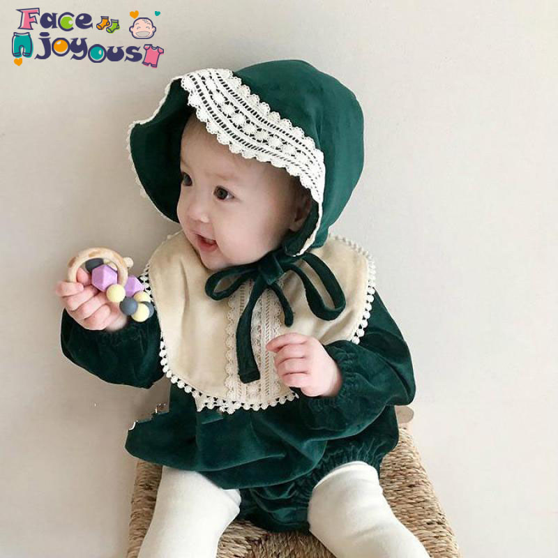 2020 Fashion Baby Bodysuit Baby Girl Clothes Set 3pcs Girls Bodysuit+ Bib+ Hat Cute Princess Jumpsuit Kids Clothing Set