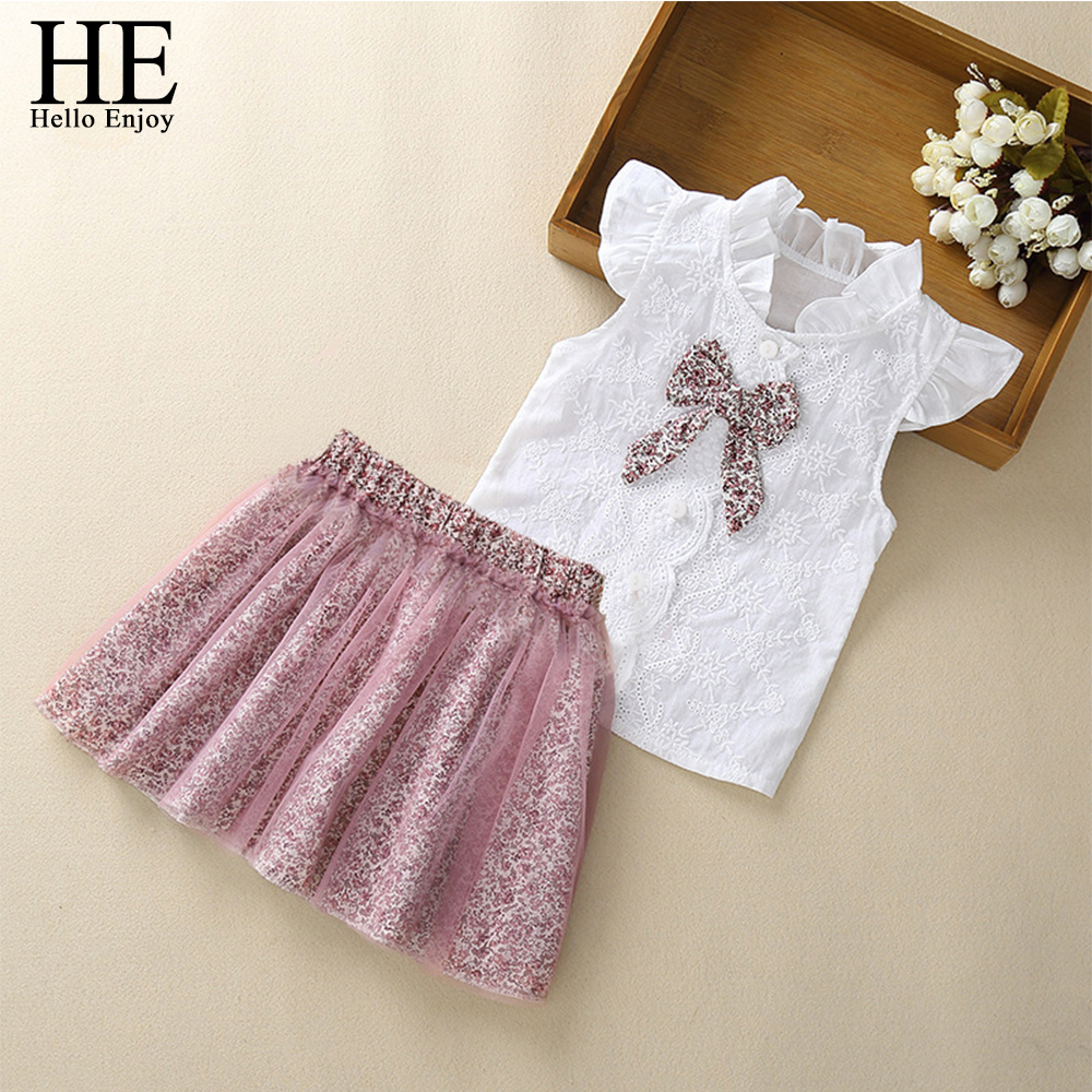HE Hello Enjoy Girls Clothes Sets New Summer Sleeveless T-shirt+Print Bow Skirt 2Pcs For Kids Clothing Baby Clothes Outfits 2-6Y