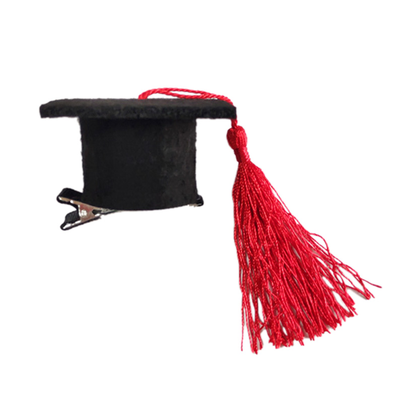 1 Pcs Graduation Hat Hair Clip Mini Doctoral Cap Hair Clip Costume Graduation Cap With Tassels For Graduation Party Supply Decor