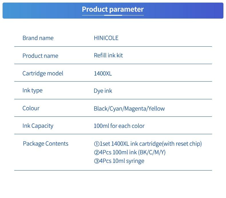 Hinicole 4*100ml impressora tinta + recarregável PGI-1400XL
