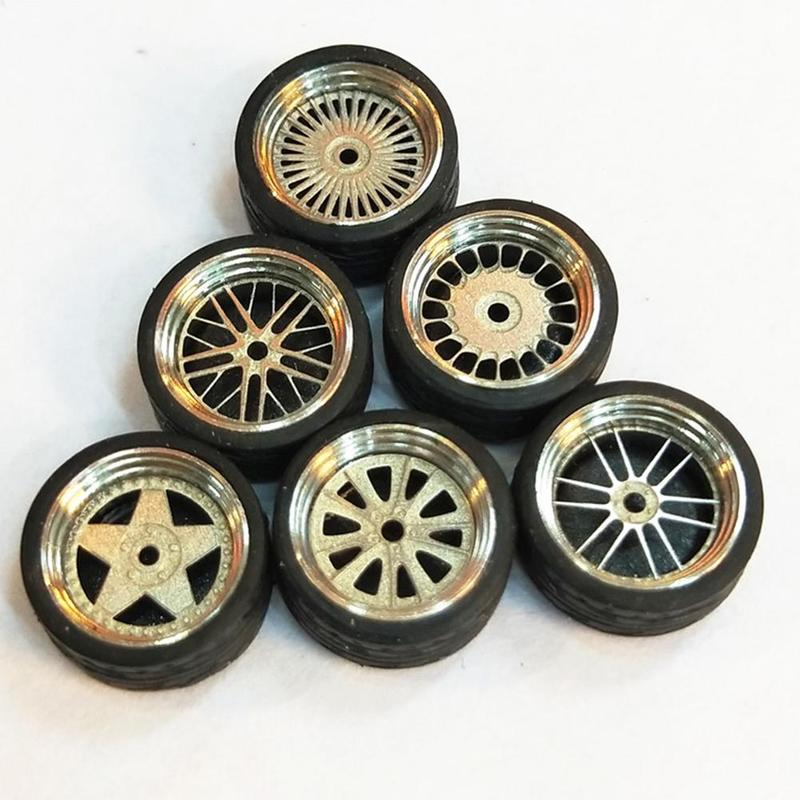New 1/64 Scale Alloy Wheels Model Universal Modification Tire Diecasts Alloy Wheel Tire Rubber Tires Toy Accessories Wheels