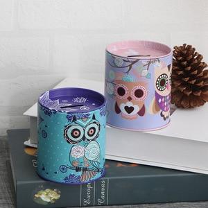 Adorable Owl Money Box Safe Cylinder Piggy Bank Banks For Coins Deposit Storage Boxes Home Decoration