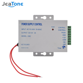 Jeatone Door Access System Electric Power Supply Control DC 12V 3A Miniature Power/Electric Lock Power/Access Control System power supply relay panel with backup battery interface low voltage protection for door access control