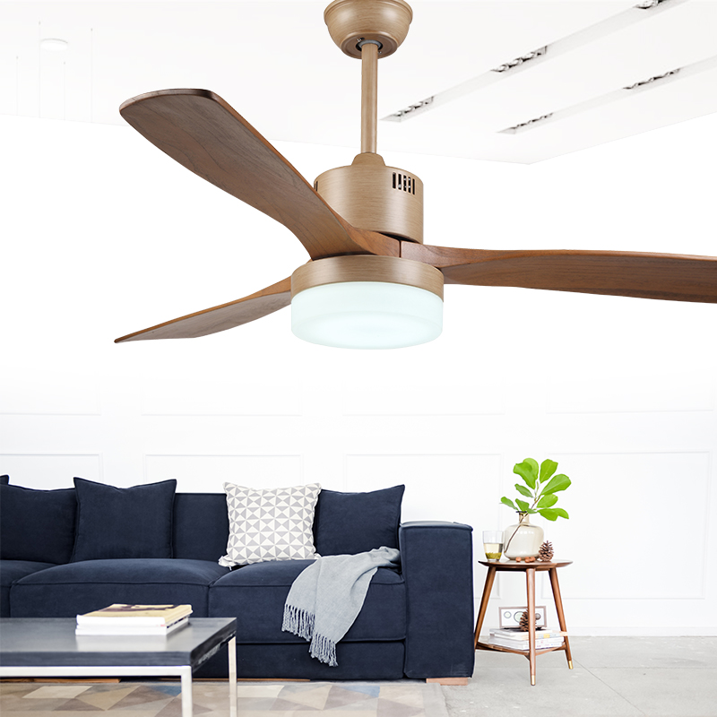 American Industrial Wind Ceiling Fan Light Nordic Wood Ceiling Fan 220v With Remote Control Dimming LED Ceiling Fan Light