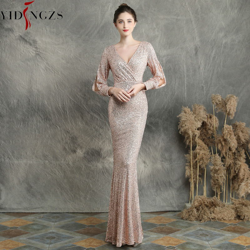 YIDINGZS  Gold Sequins Evening Dress Long Sleeve Elegant Formal Evening Party Dress YD16255