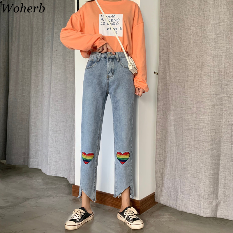 Woherb Jeans Woman Harajuku Denim Pants Ankle-length High Waist Womens Trousers Heart Embroidery Asymmetrical Stright Pants 2020