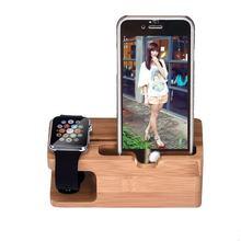 2 em 1 madeira de bambu desktop suporte do telefone celular suporte universal suporte de mesa do telefone suporte de montagem para o telefone apple relógio