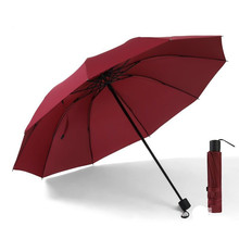2019 Umbrella Fully-automatic Three Folding Parasol Bag Commercial Compact Large Strong Frame Windproof 10 Ribs Bone Umbrellas