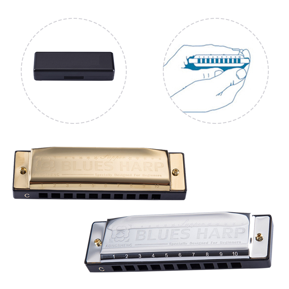 10-Holes Harp Diatonic Blues Harmonica C Key Harmonica For Kids Adults Diatonic Beginners Easy To Learn Instrument Accessories