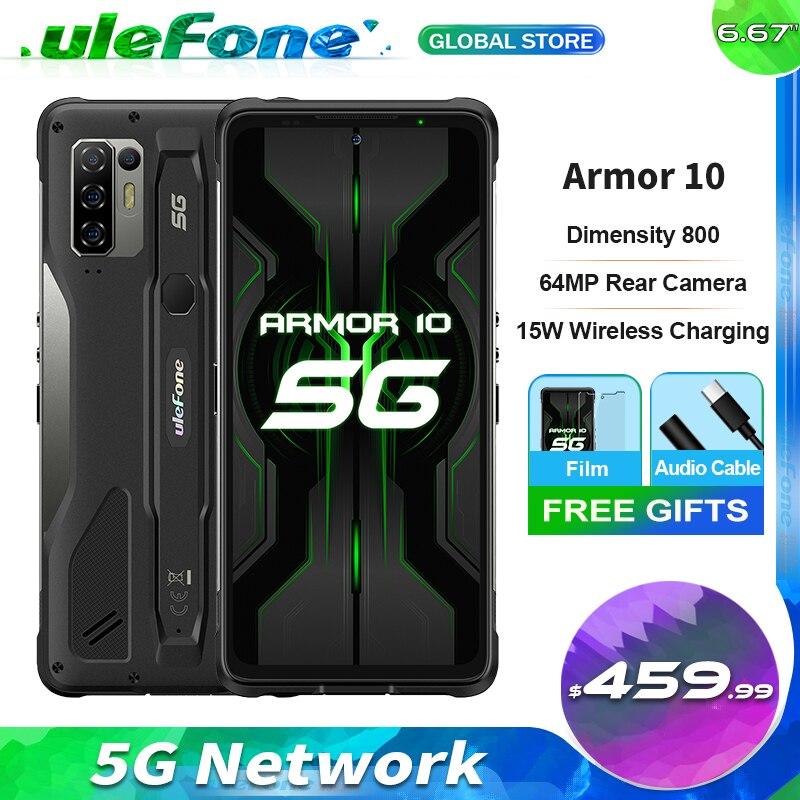 Ulefone Power 10 5G прочный мобильный телефон Android 10 8 ГБ + 128 ГБ Водонепроницаемый IP68 6,67 дюймов FHD + безрамочный экран с восьмиядерным 64MP Камера Смартф...