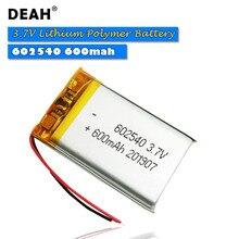 1/2 sztuk 3.7V komórki Lipo 602540 600mah akumulator litowo-polimerowy do MP3 MP4 MP5 GPS PSP zestaw słuchawkowy Bluetooth tachografu