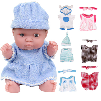 8 inch Newborn Baby Girl Dolls Handmade Lifelike Silicone In Blue Clothes Babies Toys For Kids Birthday Gift Doll Reborn lifelike blue eyes 18 inch girl american doll full vinyl princess dolls with blue nursing clothing set children birthday gift