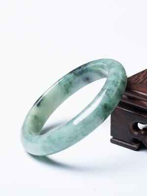 Jade birman naturel 54-62mm fleur bleue deux tons Bracelet élégant princesse bijoux pour maman pour petite amie