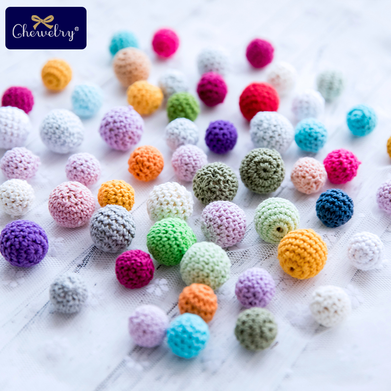 10Pcs Round Wooden Teether Crochet Beads Chewable Tooth Nursing Necklace Teething Beads Baby Teether Loose Beads Products Gifts
