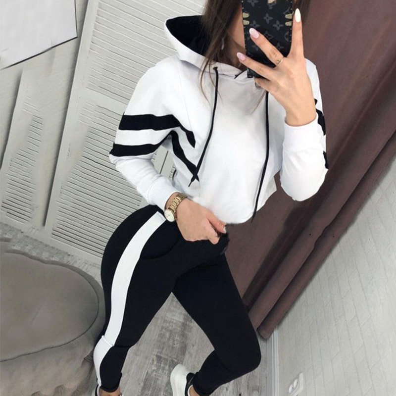 2019 Side Striped Hooded Tracksuit For Women Long Sleeve Hoody Elastic Sports Two Piece Set Autumn Streetwear Women's Tracksuits