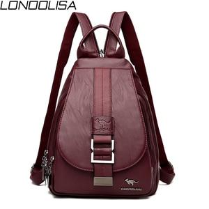 Image 1 - Novas mulheres cinto casual mochila de couro genuíno macio mochila moda canguru imprimir sacos de escola para adolescentes meninas sac