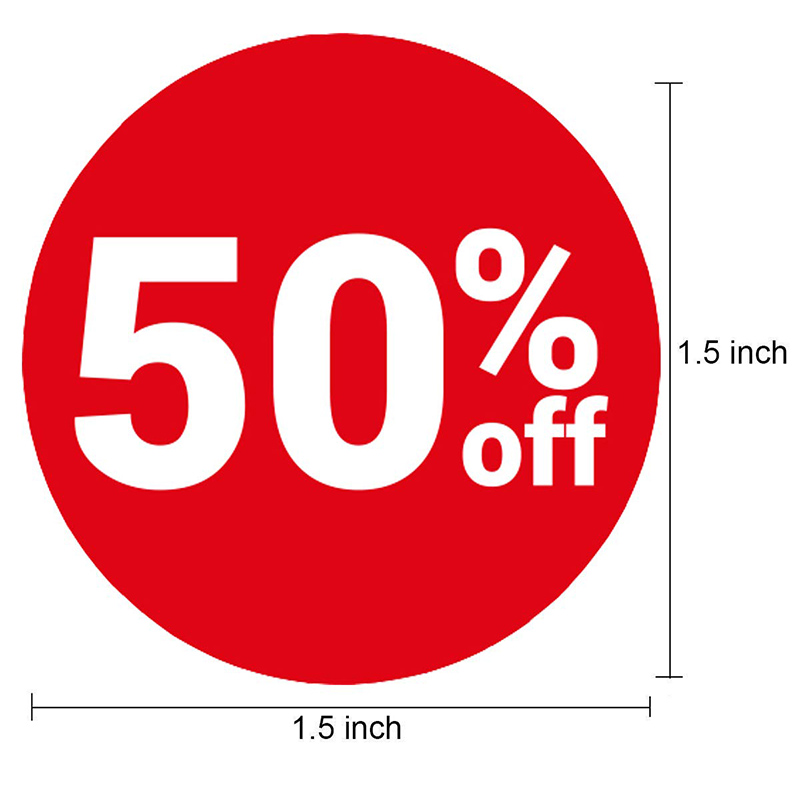 Купить с кэшбэком 520 Pcs Sale Off Stickers 50% 40% 30% Blank% Off 1.5 inch Sale Price Percent Off Stickers Labels Discount Deals Circle Pricemark