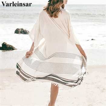 Summer Pareo Beach Cover Up Women tunics for beach Short Sleeve V Neck white beach dress Wear Swimwear Vestidos Cover Up V2681