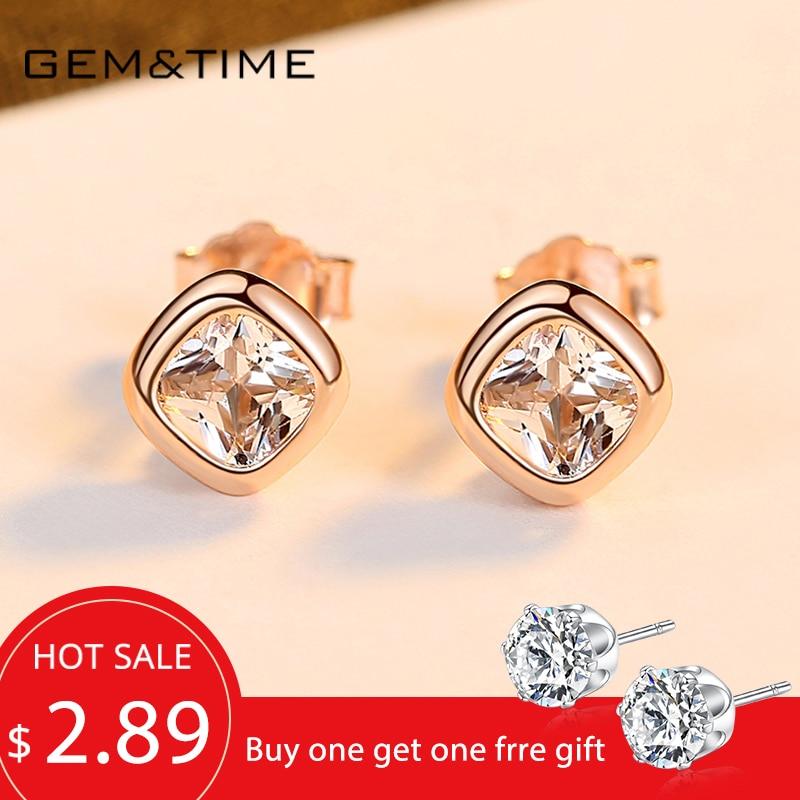 Gem&Time Korean Suqare 925 Sterling Silver Stud Earrings Cubic Zircon Earrings For Women Real Silver 925 Earrings Jewelry SE0478