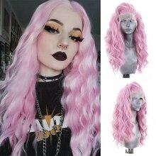 Charyzma długie faliste peruka przedziałek z boku różowe peruki syntetyczna koronka peruka Front dla kobiet żaroodporne włosy Cosplay peruki
